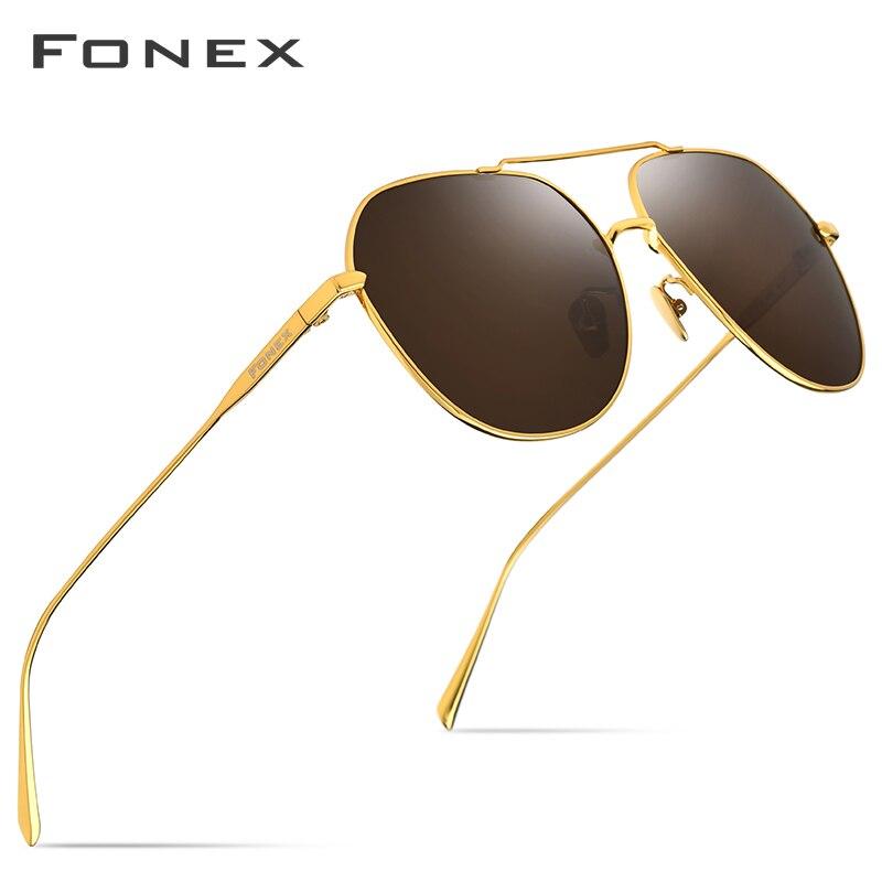 FONEX lunettes de soleil polarisées titane pur hommes lunettes de soleil carrées pour hommes 2019 nouvelle haute qualité conduite miroir extérieur UV400 8506