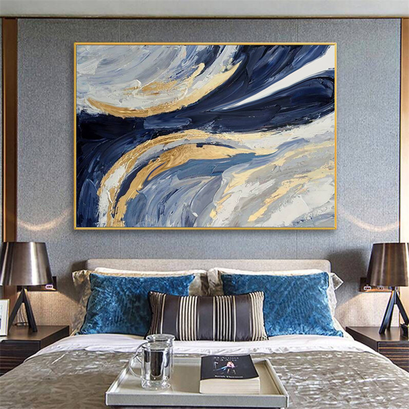 Excellent Artist Handmade High Quality Abstract Golden Oil Painting On Canvas Luxury Gold Foil Abstract Oil Painting Canvas Gift