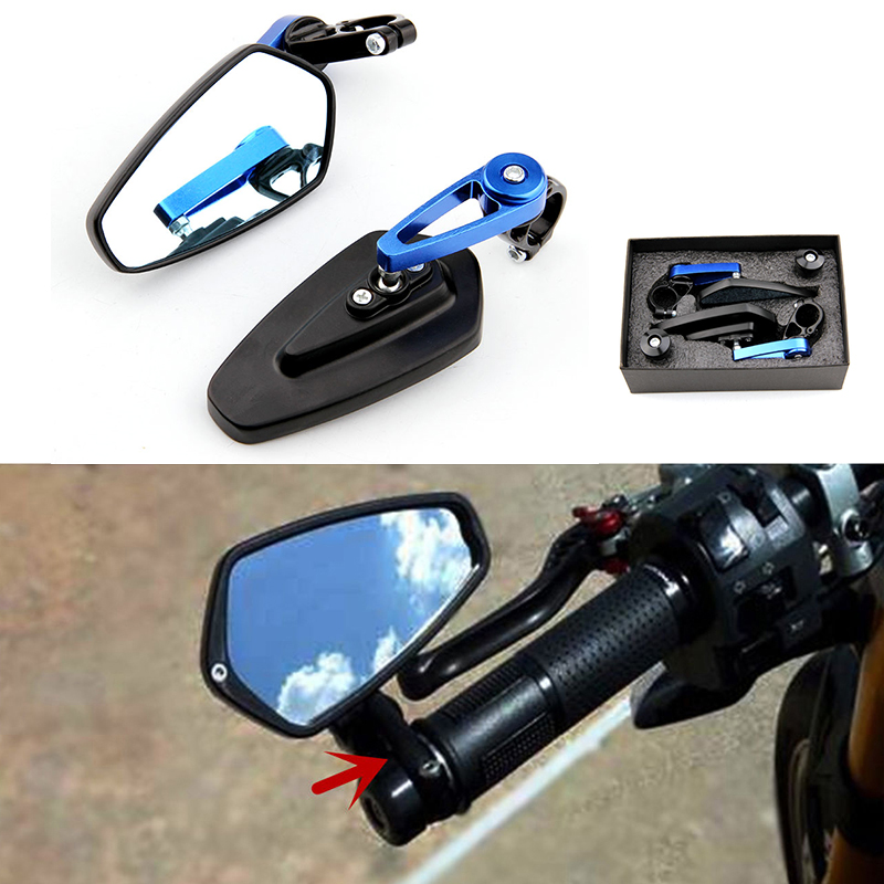 Pair Handel Bar Ends Motorcycle Mirror Handlebar Ends Rear Mirrors Side Mirrors For Kawasaki Z800 Z750 Z1000 Z650 Z900 Z300