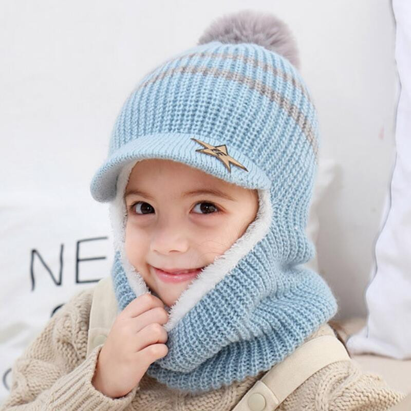 2020 Knit Short Plush Hooded Scarf Kids Hat And Scarf Child Winter Warm Protection Ear Pom Pom Cap Scarves Girls Boy Accessories