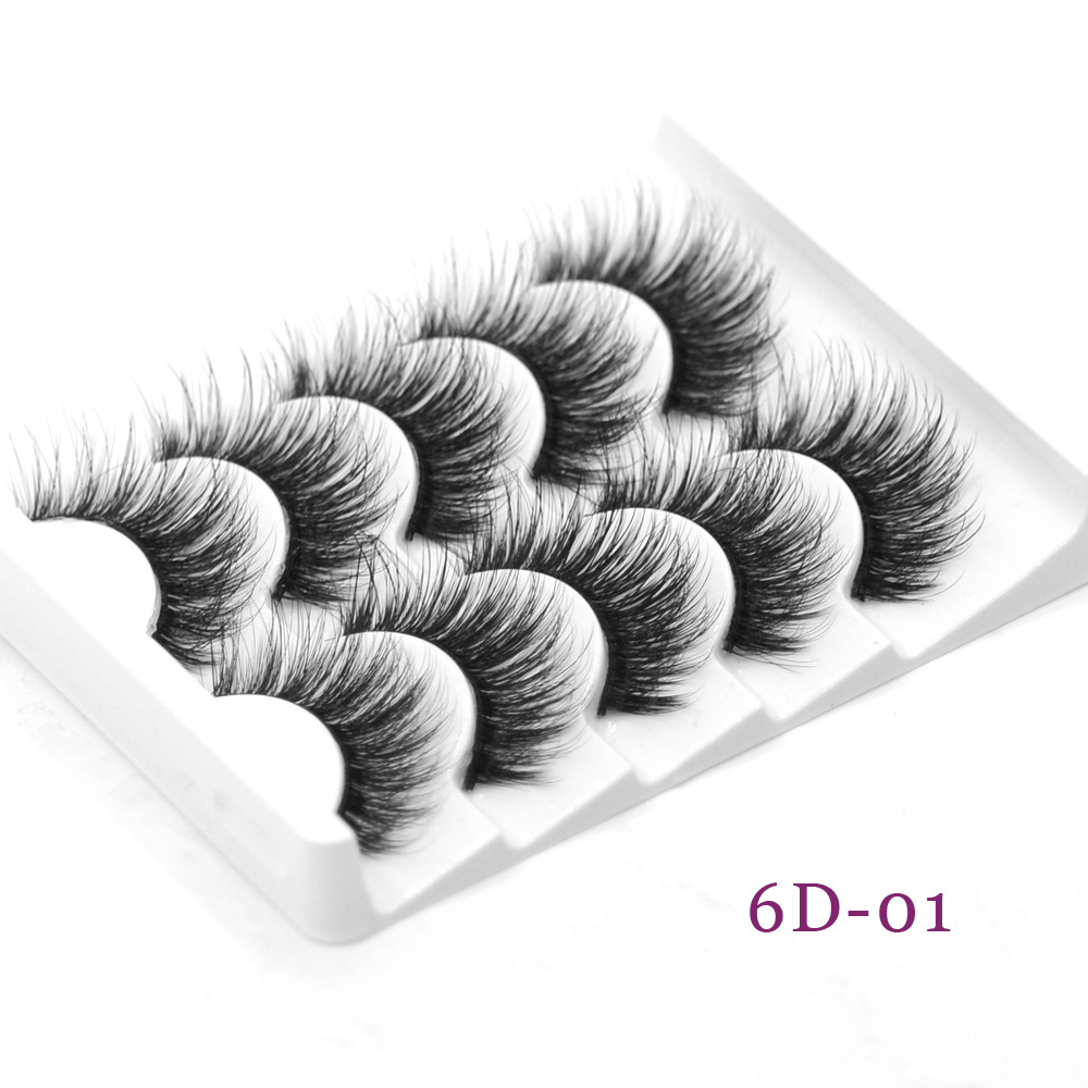 Faux Cils 3d Mink Lashes 5 Pairs Eyelashes Set Full Strip Hand Made Thick Volume False Eyelash For Beauty Makeup Daily Use