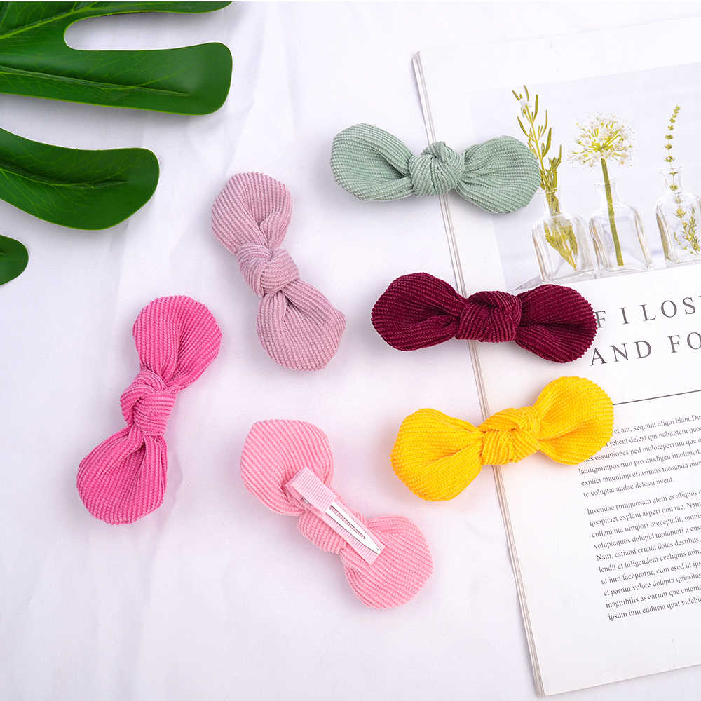 1 Piece 12color Cute Bows Baby Hair Clip Princess Girls Corduroy Handtie Hair Barrettes For Girls Hairpins Kids Hair Accessories