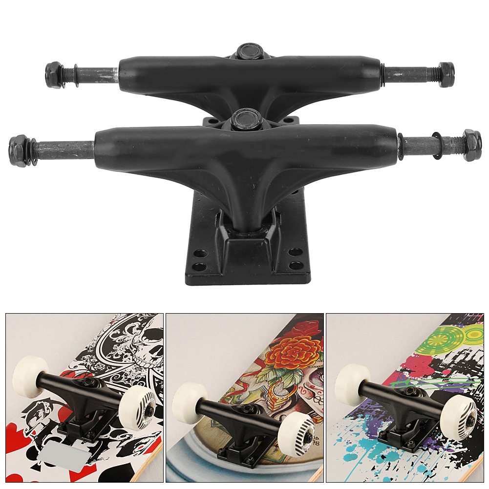Free Shipping 2Pcs 4-8 Inch Aluminum Magnesium Alloy Professional Bridge Skate Board Bracke Black For Skateboarding Accessories