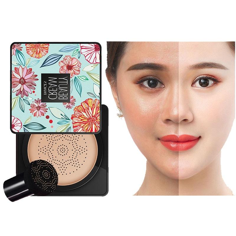 BB Air Cushion Foundation Cream Mushroom Head CC Concealer Whitening Makeup Cosmetic Korean Waterproof Brighten Face Base Tone M