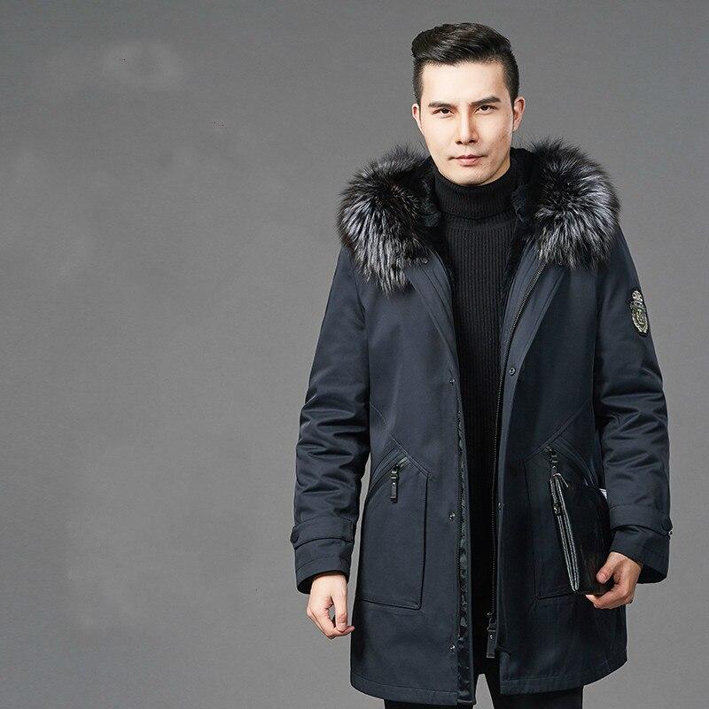 Real Fur Coat Natural Rex Rabbit Fur Liner Fox Fur Collar Parka Jacket Men Casual Warm Parkas Plus Size Jackets
