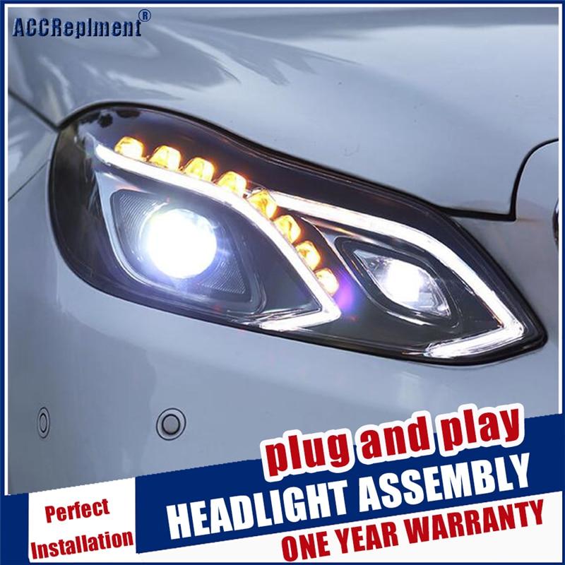 Estilo do carro para w212 lâmpada de cabeça led para benz e180 e200 e260 e300 led farol 2014 2015 para e class led drl hid bi xenon lente