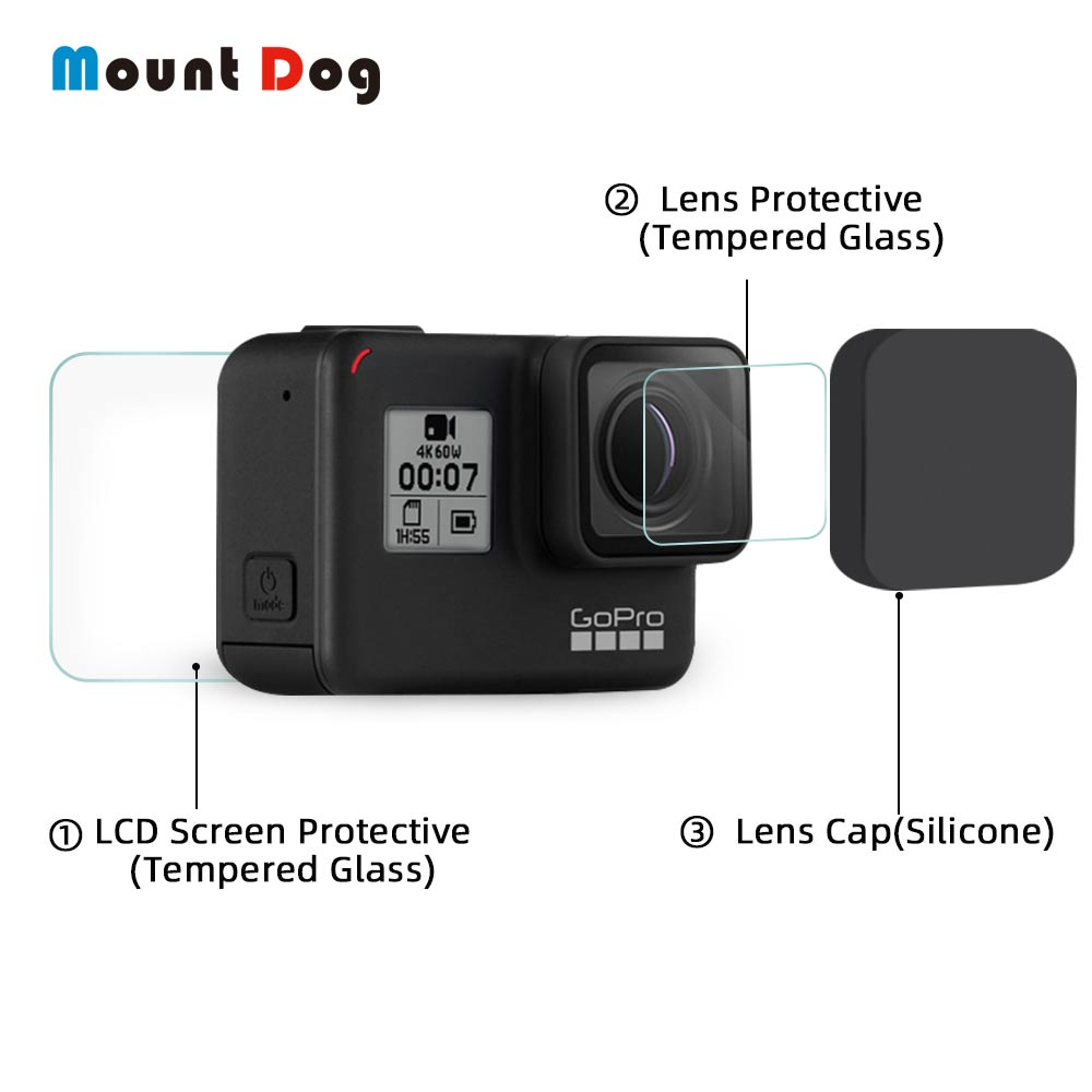 MountDog Tempered Glass For GoPro Hero 7 Black 5 6 Accessories Screen Protector With Lens Cover For Go Pro Accessories