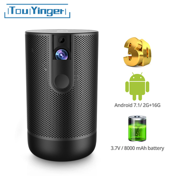 TouYinger K3 DLP mini projector Android 7.1 2G+16G Active 3D 8000mAh Battery USB WIFI Support 1080P 4K video home beamer outdoor