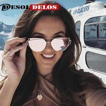 2019 Fashion Vintage Cat Eye Sunglasses Women Brand Designer Metal Luxury Rose Gold Mirror Sun Glasses Female UV400