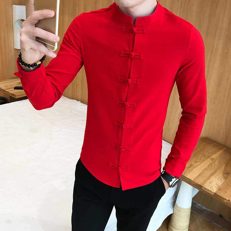 Chinese Style Slim Fit Men Shirts Business Casual Dress Shirt Cotton Comfortable Tang Costume Buckle Men Long Sleeve Shirt