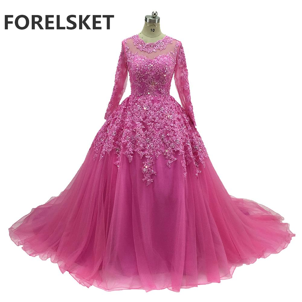 Sequined Ball Gown Pink Lace Prom Dresses Long Sleeves 2020 Beading Appliques Court Train Illusion Formal Evening Party Gowns