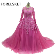 Sequined Ball Gown Pink Lace Prom Dresses Long Sleeves 2020