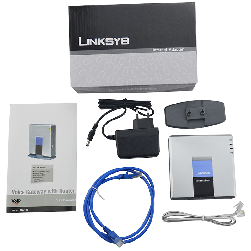 Unlocked LINKSYS SPA3102 VOIP Internet Adapter 1FXO 1 FXS Voice Over IP Forward Calls To VoIP Service EU Plug