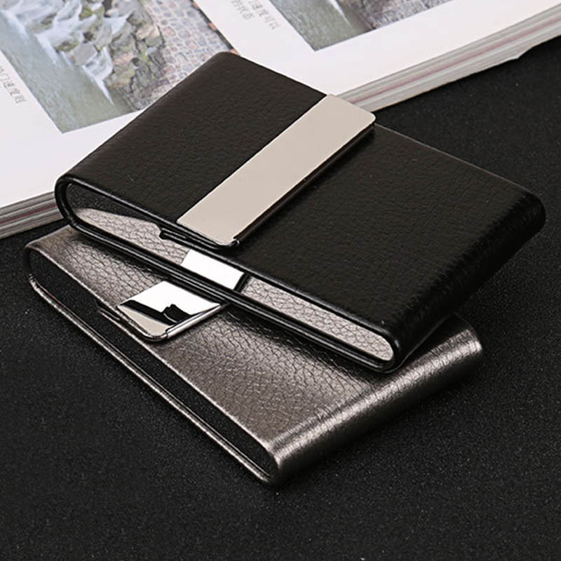 1 PC Smoking Accessories Cigarette Case Cigar Storage Box Stainless Steel  Multifunction Card Cases PU Tobacco Holder