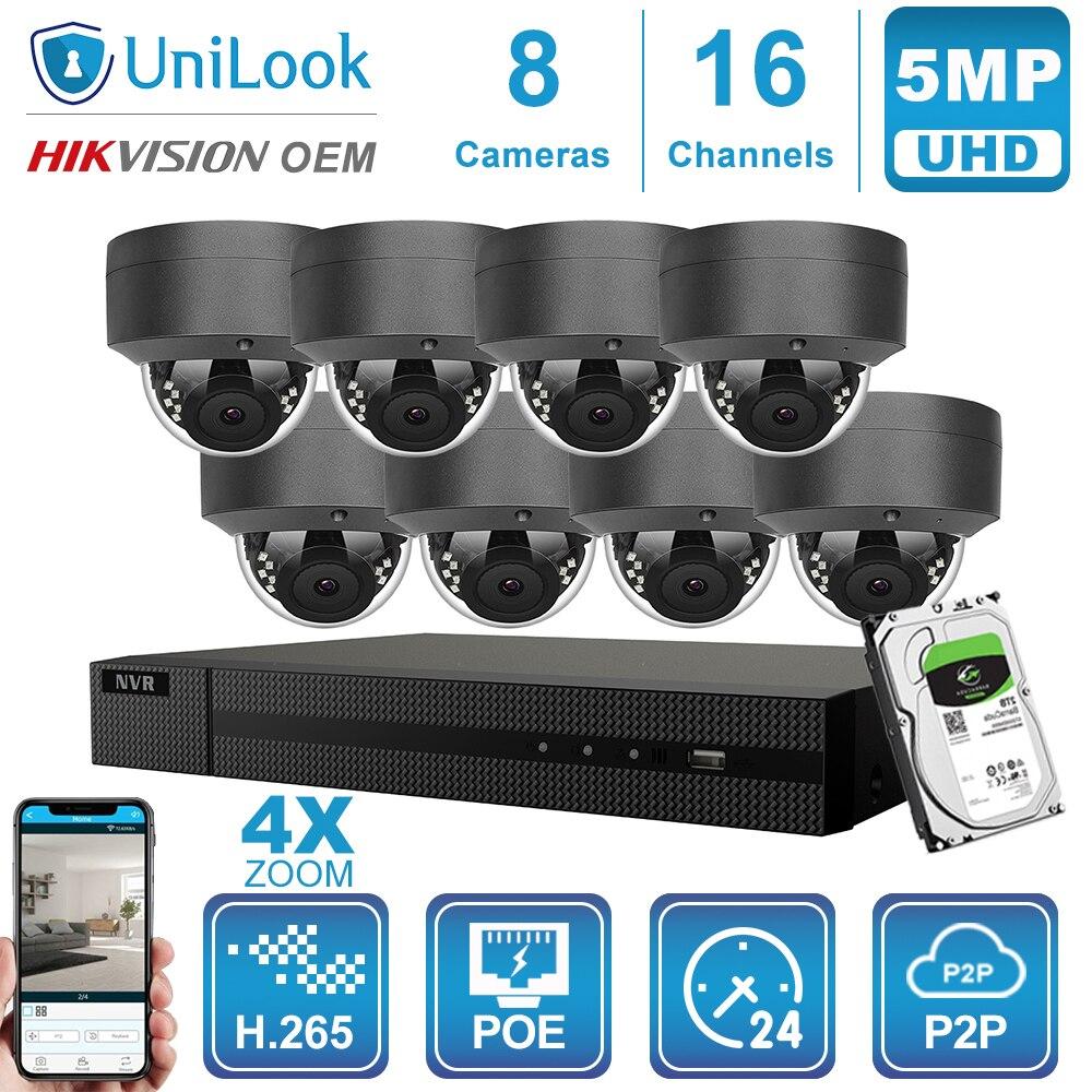 Hikvision OEM 16CH 4K NVR 5MP 4X óptico POE Dome IP Cámara 8/10/12/16 Uds H.265 ONVIF seguridad al aire libre Kits NVR CCTV con HDD Micro cámara de vídeo CCTV inalámbrica para el hogar, Mini vigilancia de seguridad con Wifi, cámara IP, cámara para teléfono, cámara ipcámara con Sensor de movimiento Wai Fi