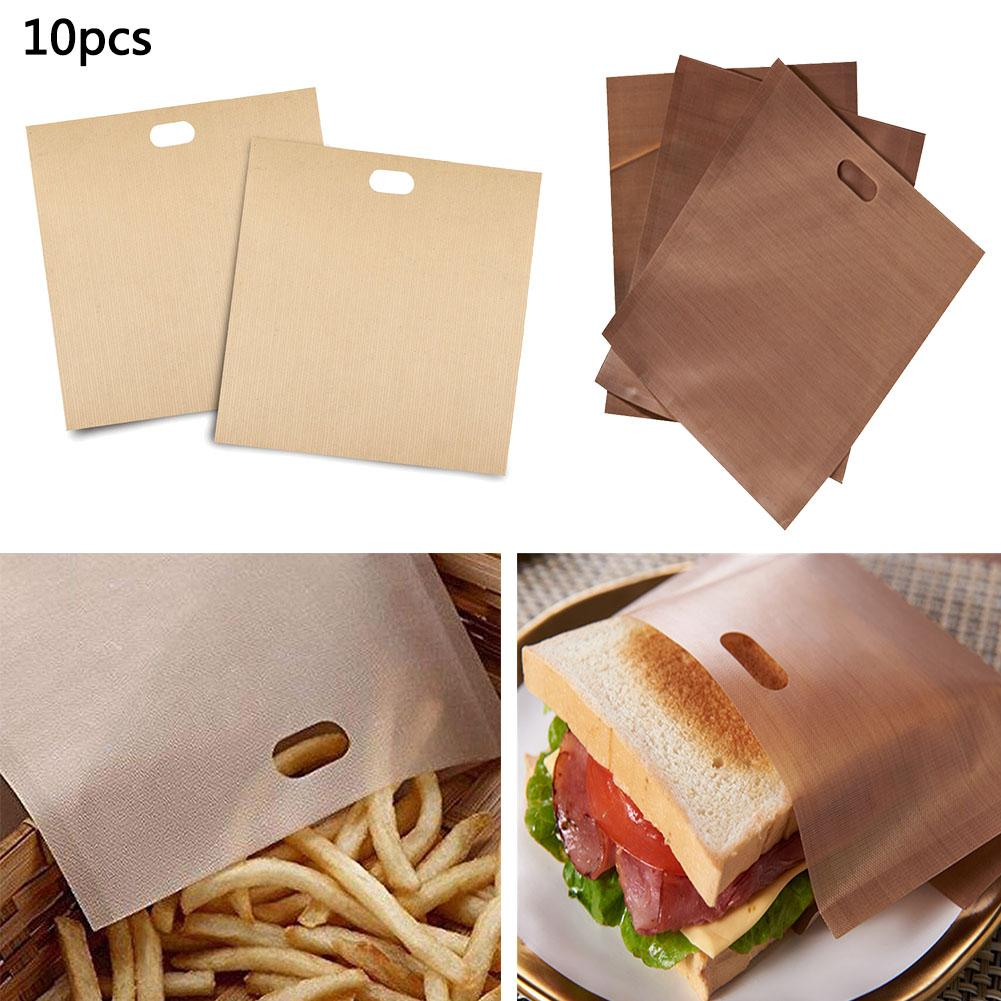 10pcs Toaster Bags Non-stick Teflon Bread Bags Toasting Accessories Cooking Bag 20*22cm For Grilled Cheese Sandwiches image