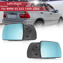 Left & Right Side Blue Heated Door Wing Mirror Glass For BMW X5 E53 1999 2006 3.0i 4.4i Rearview Heating Mirror Wide Angle Glass