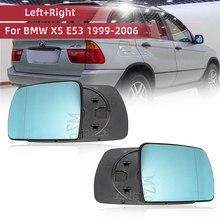 Lewe i prawe boczne niebieskie podgrzewane lusterko zewnętrzne szkło do BMW X5 E53 1999 2006 3.0i 4.4i lusterko wsteczne lusterko szerokokątne