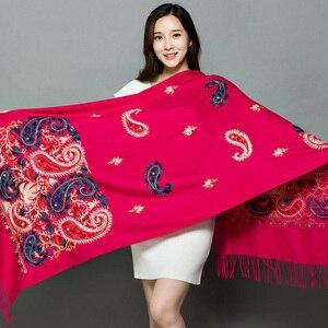 Длинный шарф с вышивкой, кешью, цветочный шарф, шаль с бахромой, шарф, женский модный шарф, женская зимняя шаль