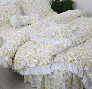 Трендовый пасторальный Комплект постельного белья с желтым цветком, хлопковая одно-, Двуспальная, для дома, текстиль, постельное платье, нав...