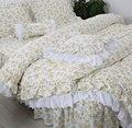 Tendência pastoral flor amarela conjunto de cama, gêmeo completa rainha rei algodão único duplo casa têxtil cama vestido fronha colcha capa