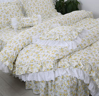 Trend pastoral yellow flower bedding set,twin full queen king cotton single double home textile bed dress pillowcase quilt cover