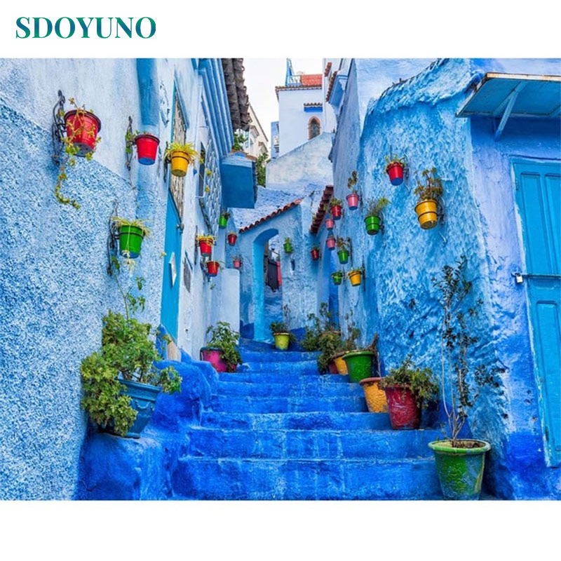 SDOYUNO Acrylic Paint By Numbers For Adults Blue Town 60x75cm Oil Painting By Numbers On Canvas Frameless DIY Home Decor