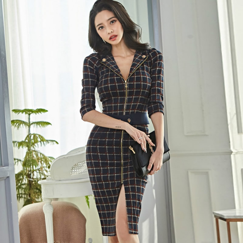 Winter Vintage Plaid Zipper <font><b>Sexy</b></font> Sheath Vestidos Knee-Length <font><b>Bodycon</b></font> Slit Half Sleeve <font><b>Women's</b></font> Office <font><b>Dress</b></font> image
