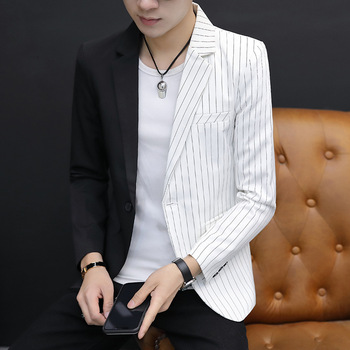 Hairstyle Teacher Night Show Coat Men Personality Trend Spell Color Small Suit Men's Wear Slim Fit Leisure Time Suit Handsome