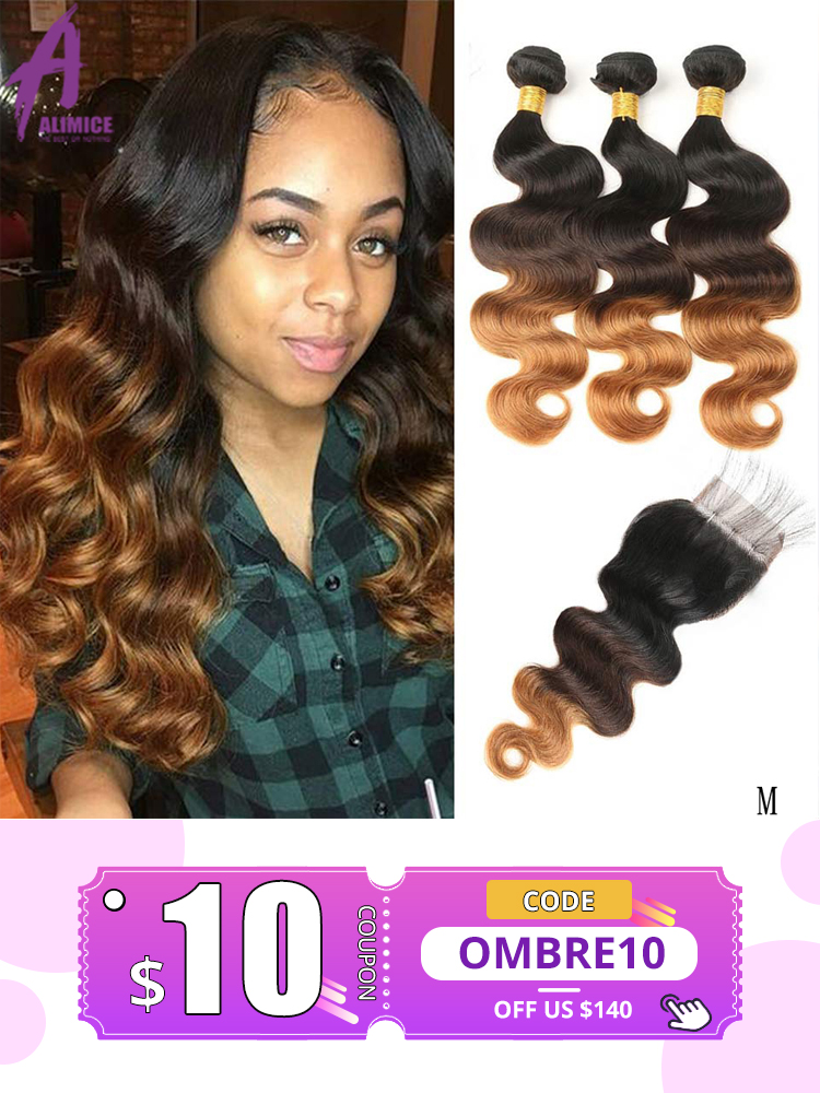 Alimice Bundles Highlight Closure Hair Body-Wave Colored Ombre Peruvian with 4/30-3tone