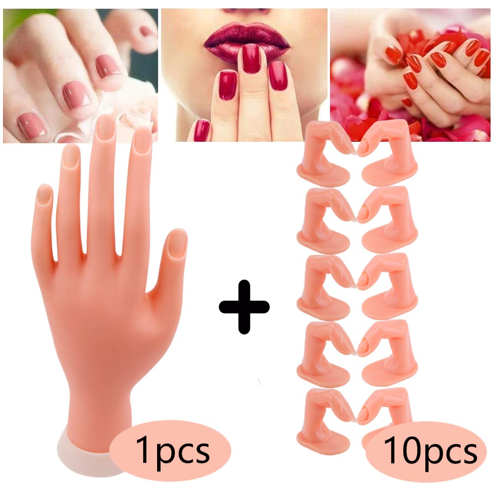 5/10pcs False Nails Finger Practice Model 1pcs Nail Hand Training For Manicure Beauty Nail Tips Flexible Practice Finger Tools