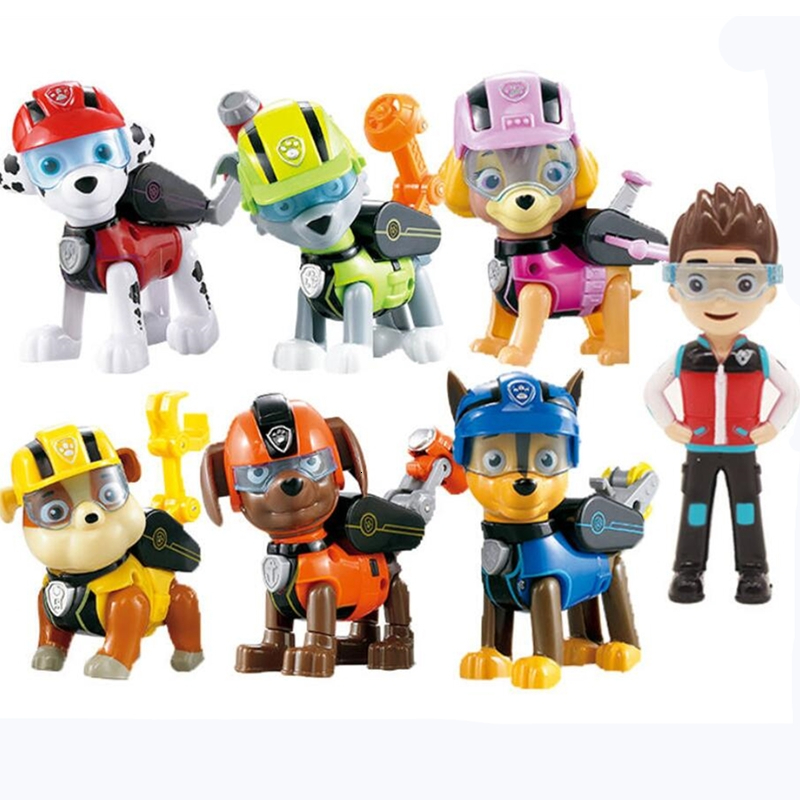 PAW Patrol Dog Animation Toy Figure Plastic Canina Toys Toy Figure Skating Model Patrulla Canina Toy Children's Gift