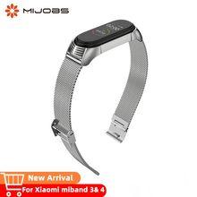 Mijobs bracelet mi band 4 wrist strap metal stainless steel for xiaomi miband 3 Pulsera watch correa