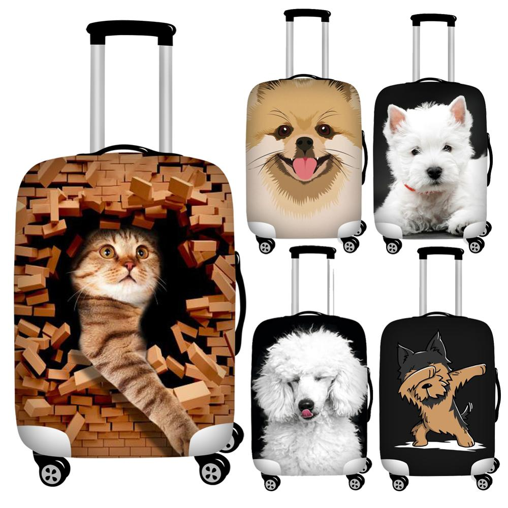 Twoheartsgirl Printing Cat Dog Travel Luggage Protective Dust Cover Elastic 18-32inch Suitcase Cover Protector Baggage Covers