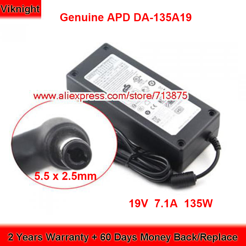 Genuine Asian Power Devices Inc.APD DA-135A19 19V 7.1A AC Adapter for Acer ASPIRE L100 L310 L320 Laptop Power Supply