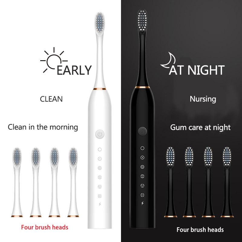 Electric Toothbrush Smart Brush Sound Waves Ultrasonic Whitening Waterproof USB Teeth Brush