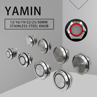12/16/19/22/25/30mm momentáneo de reinicio corto interruptor de botón de Metal DIY ultrafino lámpara táctil resistente al agua con luz LED