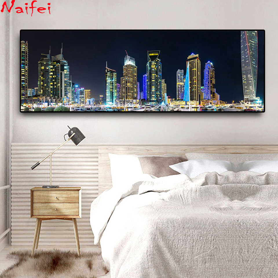 5D DIY Diamond Embroidery Emirates UAE Dubai Houses Marinas Night Landscape Diamond Painting Cross Stitch Full Drill Gift-2