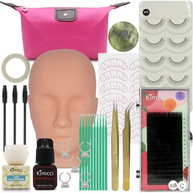 Kimcci False Eyelash Extension Training Kit Exercise Practice Mannequin Head Set Grafting Eyelash Tools Kit Eye Lashes Grafting