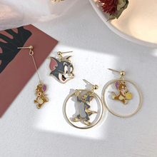 Cute Cat And Mouse Drop earrings Funny Women Kids Earring 2019 Small Animal Tom Cat And Jerry Rat Stud Ear Cartoon Movie Jewelry f135 princess cat fashion cartoon stud earring cute earrings for women kids ear studs