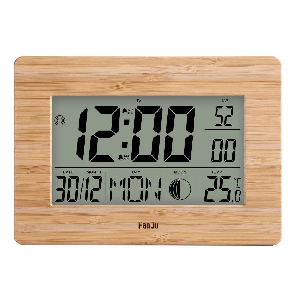FanJu Digital Wall Clock LCD Big Large Number Time Temperature Calendar Alarm Table Desk Clocks Modern Design Office Home Decor(China)