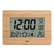 FanJu ساعة حائط رقمية LCD عدد كبير الوقت درجة الحرارة التقويم المنبه الجدول مكتب الساعات الحديثة تصميم مكتب ديكور المنزل