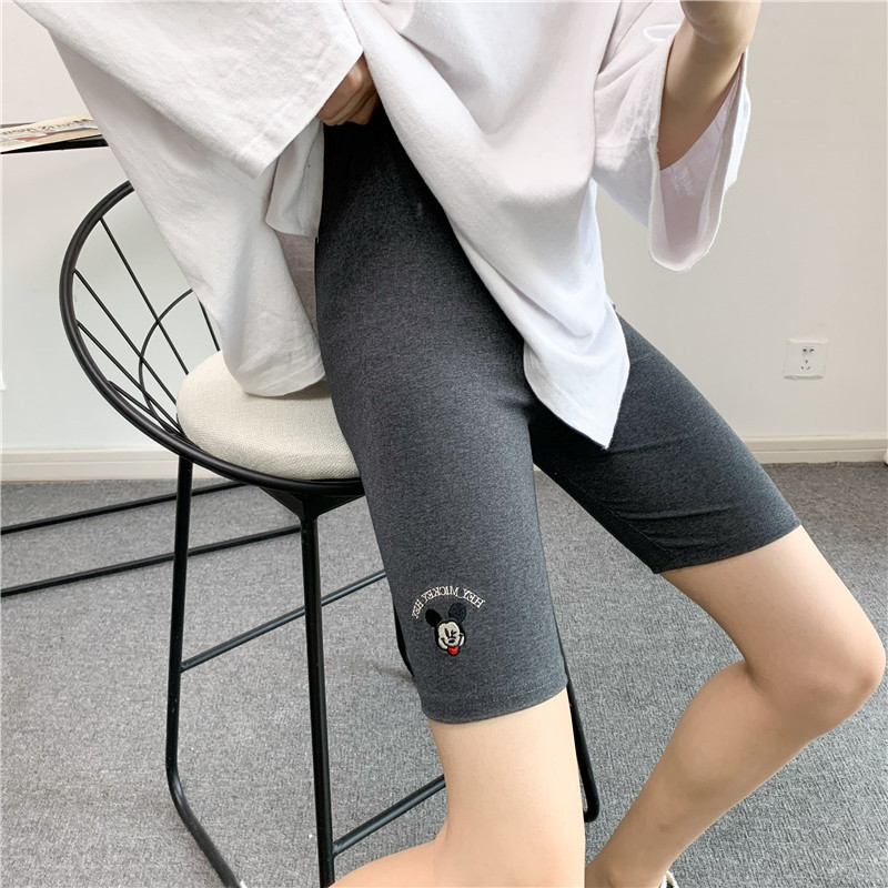 Women's summer five-point cotton Mickey cartoon embroidery shorts sweatpants leggings riding pants ladies shorts