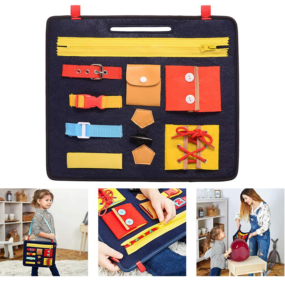 Toddler Busy Board 9 Different Buckles Learning Portable Dress Educational Learning Educational Eco-Friendly Basic Skills Dress