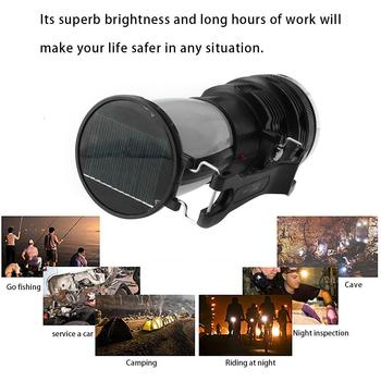 Portable Solar-powered LED Flashlight Camping Tent Folding Light Outdoor Rechargeable Torch For Camping Hiking tl 100 digital manometer air pressure meter portable pressure gauges handheld u type differential pressure meter