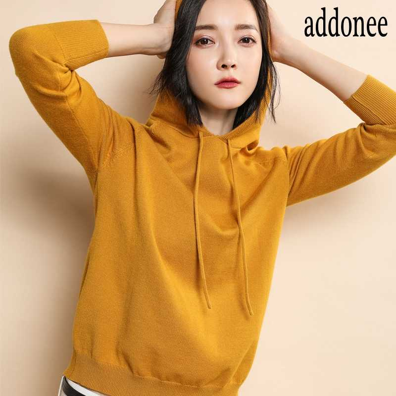 High Quality New Spring Autumn Winter  Women Cashmere Knit Sweater Hooded Collar Pullovers Solid Color Sport Soft Casual Loose