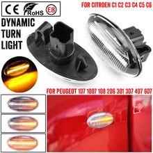 2x dinâmico piscando led lado marcador transformar a luz do sinal para peugeot 307 206 607 407 1007 107 207 parceiro especialista lâmpada indicadora