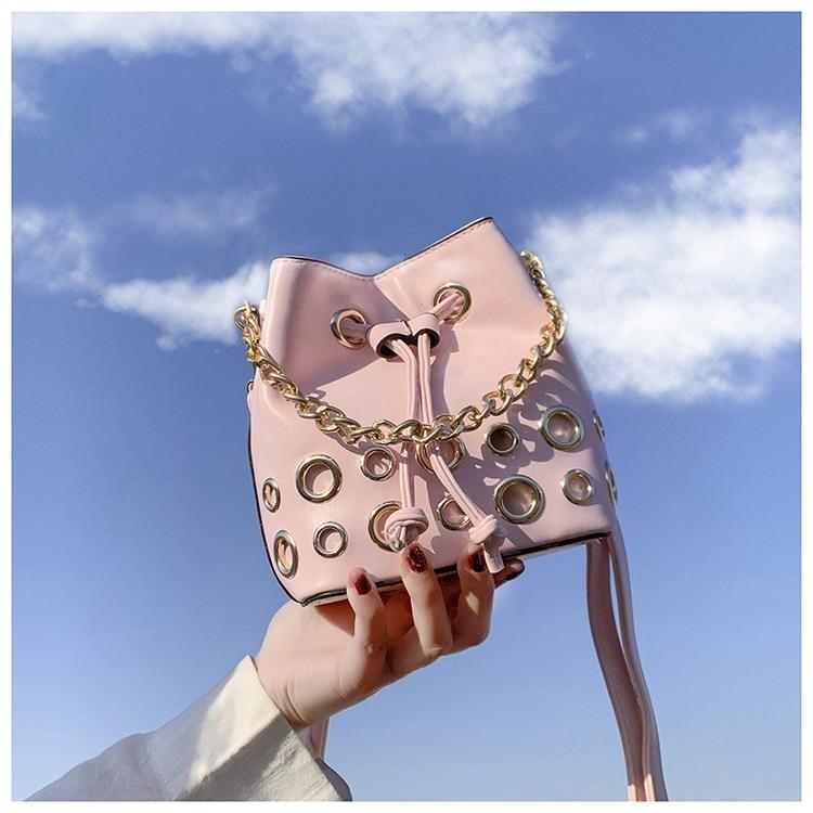 Drawstring Bucket Bag For Women 2020 New Designer Pu Leather Crossbody Bags Ladies Shoulder Bags Female Handbags Pure Color Sac