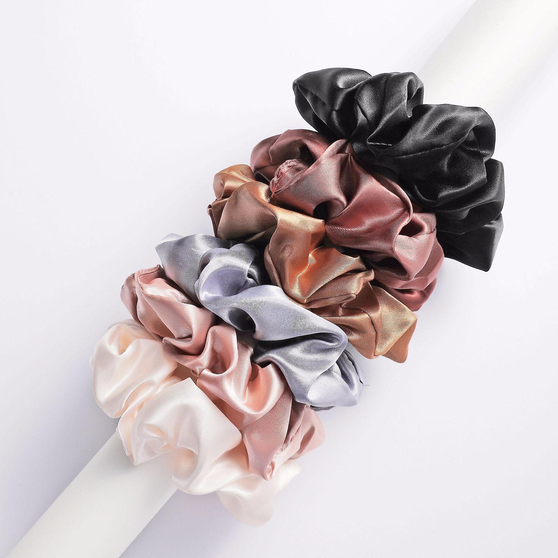 6pcs/lot Fashion Women Girls Silky Satin Hair Scrunchies Solid Stretch Elastic Hair Tie Simple Elegant Rubber Band Ponytail Tie