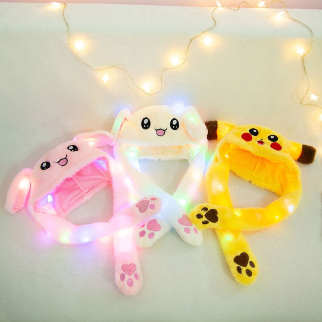 Cute Rabbit Hat with light Funny Air Float Filling Ear Moving Cap Cartoon Plush Stuffed Toys Gifts for kids